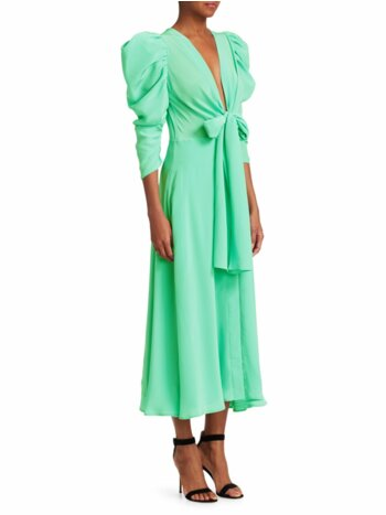 Hel Silk Bow Puff-Sleeve Midi Dress