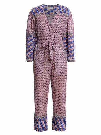 Bianca Paisley Long-Sleeve Jumpsuit