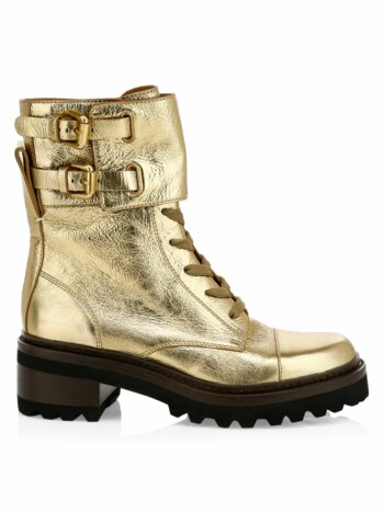 Mallory Metallic Leather Combat Boots