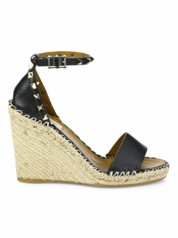 Rockstud Leather Espadrille Wedge Sandals