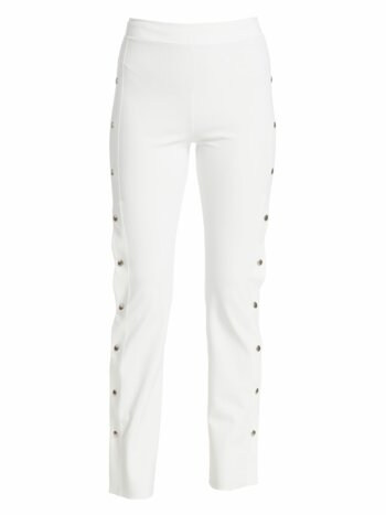 Veerle High-Waist Side-Snap Pull-On Pants