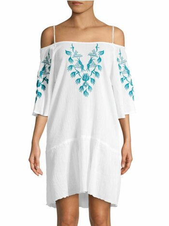 Embroidered Cold-Shoulder Cotton Coverup