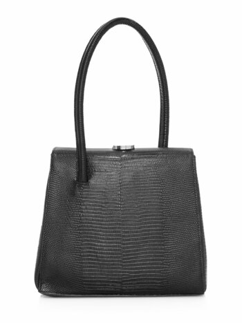 Madame Lizard-Embossed Leather Top Handle Bag