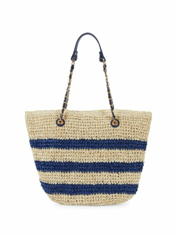 Paper Straw Stripe Tote with Chain Handles
