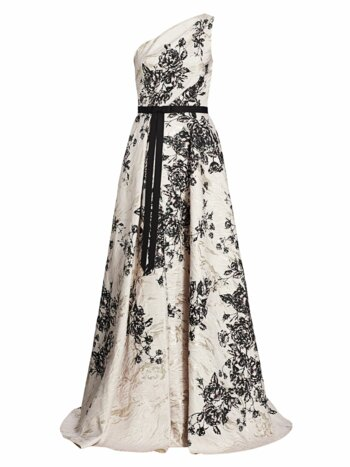 Jacquard Floral One-Shoulder Ball Gown