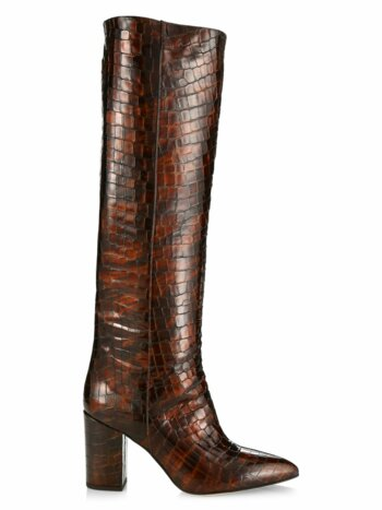 Knee-High Croc-Embossed Leather Boots
