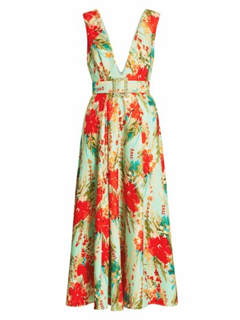 Floral Belted Cocktail Dress