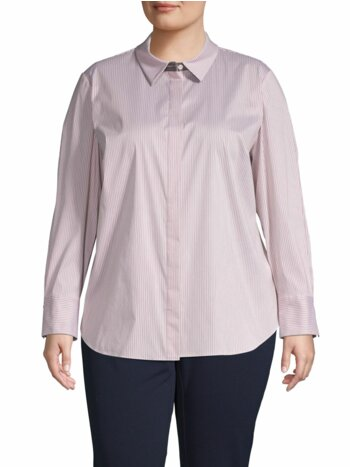 Plus Striped Cotton-Blend Shirt
