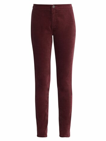 Petite Stretch Velvet Five-Pocket Pants