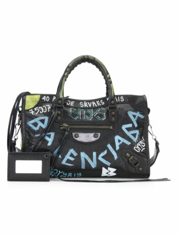 Small City Graffiti Leather Satchel