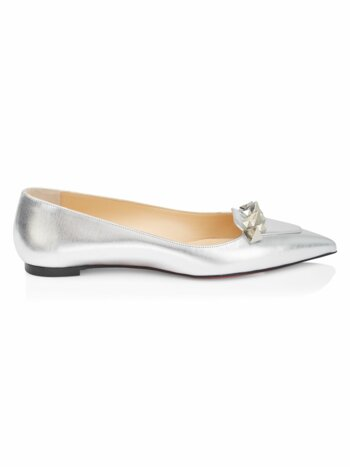 Miss Constella Studded Metallic Leather Ballet Flats