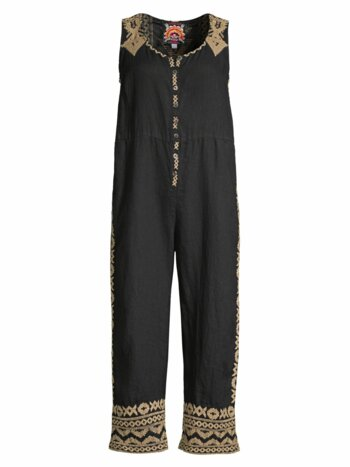 Tracy Easy Embroidered Crop Linen Jumpsuit