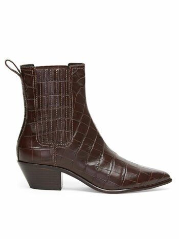 Aylin Croc-Embossed Leather Western Booties