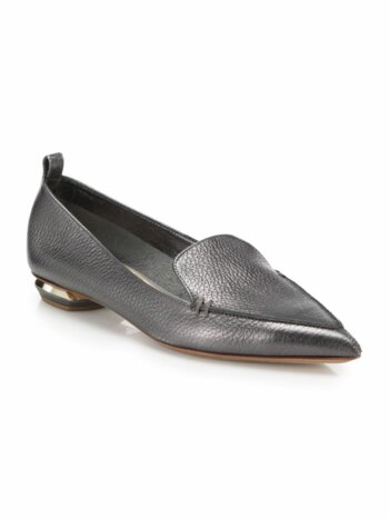 Beya Metallic Leather Point-Toe Loafers