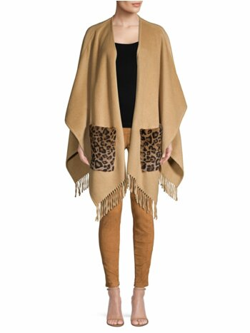 Carolina Leopard-Print Kangaroo Fur-Pocket Cape