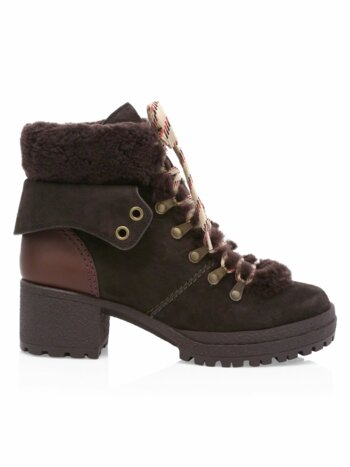 Eileen Shearling-Trimmed Leather Hiking Boots