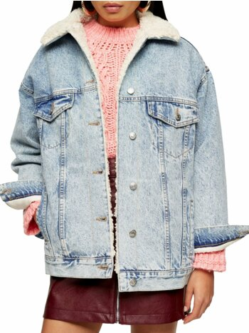 Bleach Super Oversized Faux Shearling Lined Denim Jacket