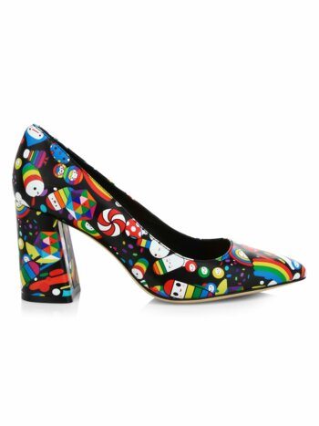 Friends With You x Alice + Olivia Demetra Print Leather Pumps