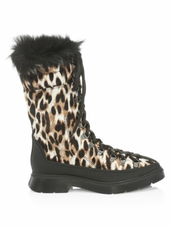 Jessie Shearling-Lined Leopard Calf Hair Winter Boots