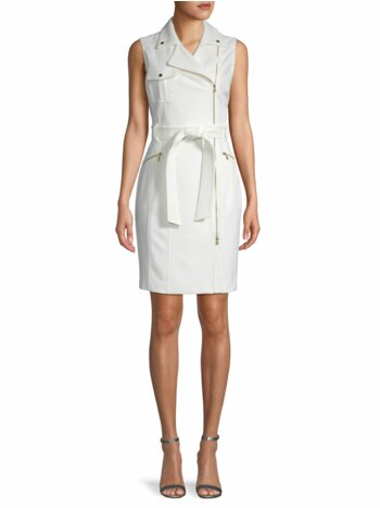 Moto Belted Sheath Dress