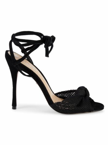 Aurore Ankle-Wrap Mesh & Suede Sandals