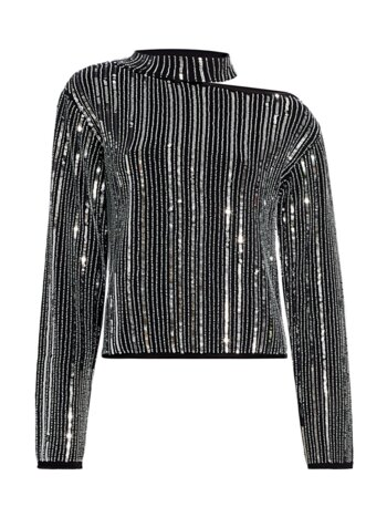 Langley Cut-Out Sequin Stripe Sweater