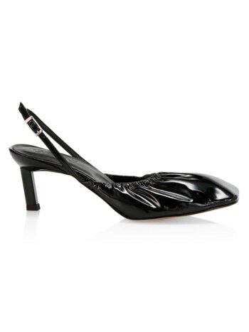 Ruched Patent Leather Slingback Pumps