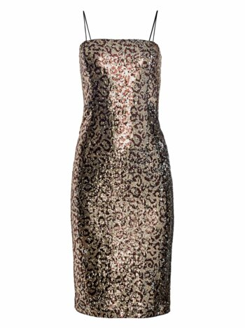 Kaia Leopard Sequin Midi Sheath Dress