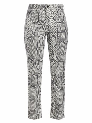 High-Rise Scaled Python-Print Cigarette Jeans