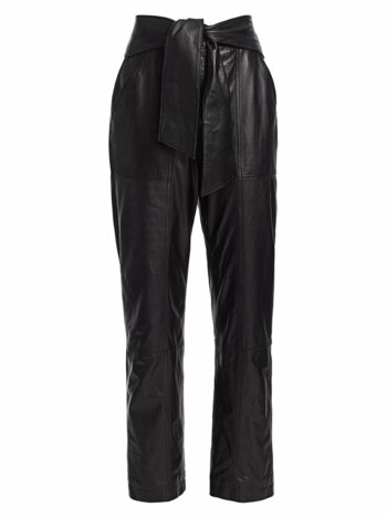 Vegan Leather Tie-Waist Pants