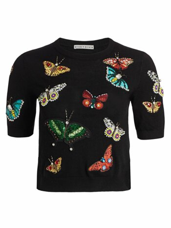 Ciara Butterfly Embroidery Stretch-Wool Pullover