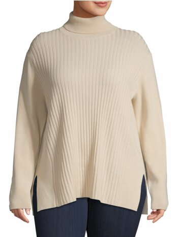 Plus Ribbed High Neck Cashmere Sweater