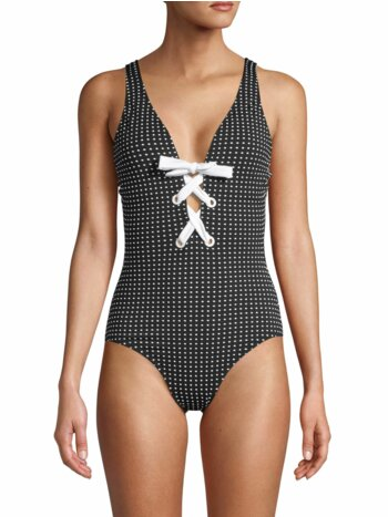 Dotted One-Piece Lace-Up Swimsuit