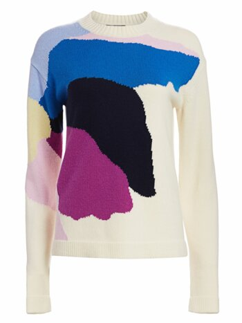 Abstract Floral Intarsia Knit Wool & Cashmere Sweater