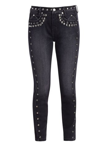 High-Rise Studded Ankle Skinny Jeans
