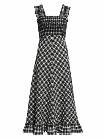 Seersucker Checked Maxi Dress