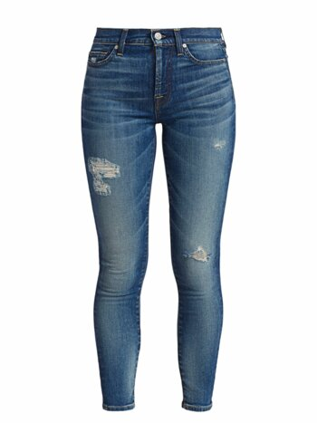 High-Rise Destroyed Ankle Skinny Jeans