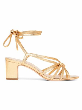 Libby Ankle-Wrap Metallic Leather Sandals