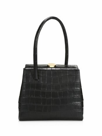 Madame Croc-Embossed Leather Top Handle Bag