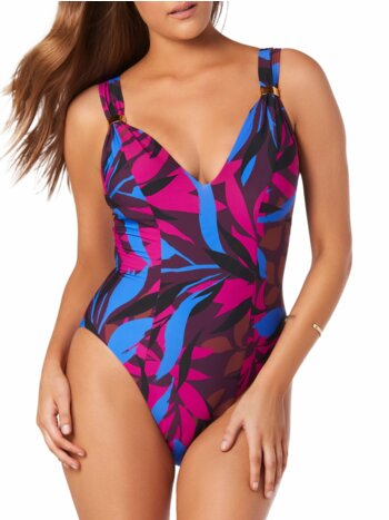 Leaf-Print One-Piece Swimsuit