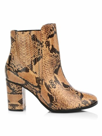 Fabricia Snakeskin-Embossed Leather Ankle Boots