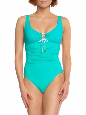 One-Piece Ruched Front-Tie Swimsuit
