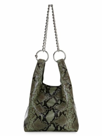 Karlie Chain Snakeskin-Embossed Leather Shopper