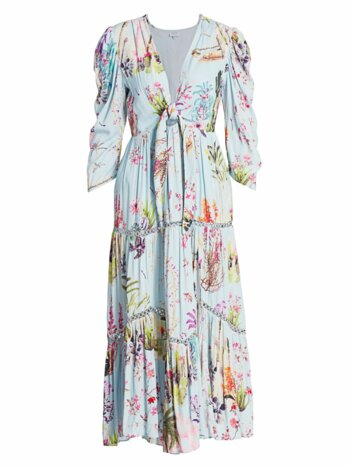 Floral-Print Tie Cutout Puff-Sleeve Flounce Midi Dress