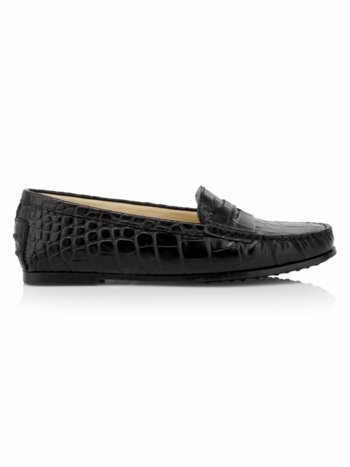 City Gommini Croc-Print Leather Drivers