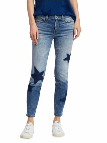 Star-Embroidered Ankle Skinny Stiletto Jeans