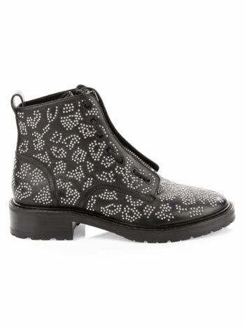 Cannon Zip-Up Embellished Leather Combat Boots