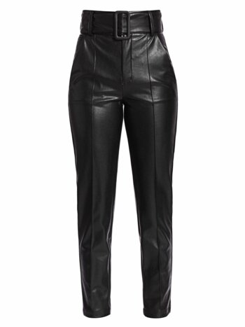 High-Waist Belted Faux-Leather Pants