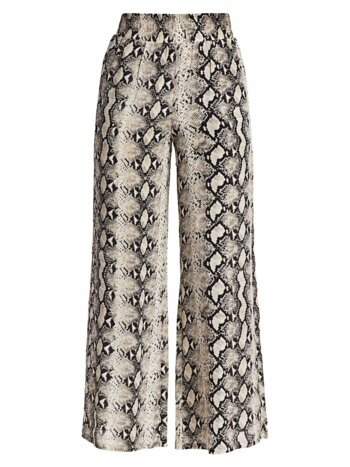 Oaklyn Snake Print Wide-Leg Cropped Silk Pants