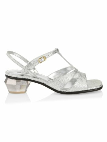 The Gem Snakeskin-Embossed Metallic Leather T-Strap Sandals
